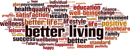 Better living word cloud concept. Vector illustration Illustration