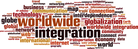 Worldwide integration word cloud concept. Vector illustration Illustration