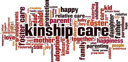 Kinship care word cloud concept Vector illustration Illustration