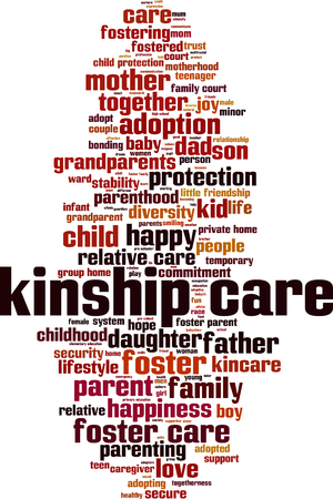 Kinship care word cloud concept Vector illustration Illusztráció