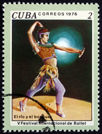 CUBA - CIRCA 1976: a stamp printed in Cuba shows scene from ballet The river and the forrest, 5th International Ballet Festival, Havana, circa 1976