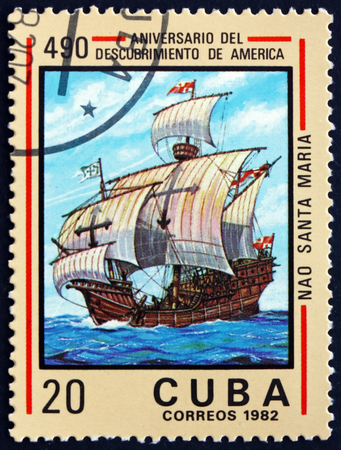 CUBA - CIRCA 1982: a stamp printed in Cuba shows Santa Maria, discovery of America, 490th anniversary, circa 1982