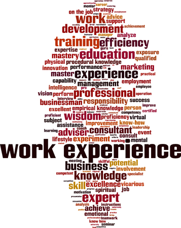 Work experience word cloud concept. Vector illustration