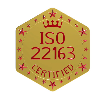 ISO 22163 standard, railway applications, quality management system, 3D render, isolated on white Stock Photo
