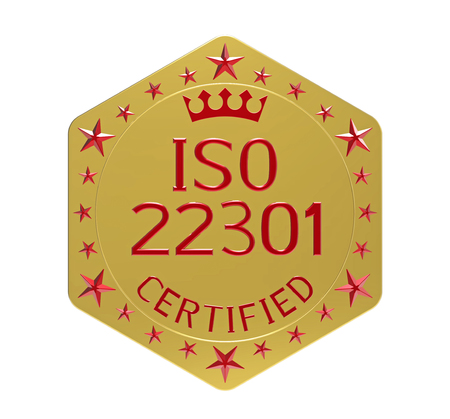 ISO 22301 standard, societal security, business continuity management system, 3D render, isolated on white Stock Photo