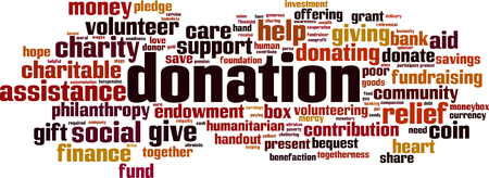 Donation word cloud concept of donation.