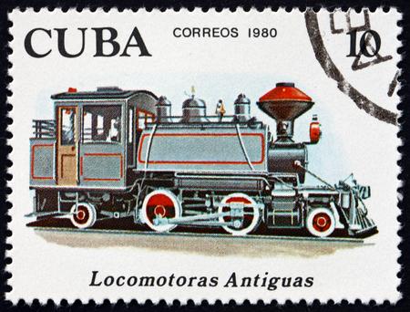 CUBA - CIRCA 1980: a stamp printed in Cuba shows 2-4-2 locomotive, early locomotive, circa 1980