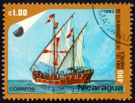 NICARAGUA - CIRCA 1982: a stamp printed in Nicaragua shows Nina, Ship, Discovery of America, 490th Anniversary, circa 1982