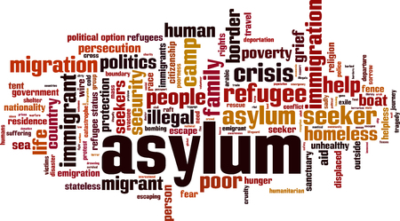 Asylum crisis word cloud concept. Vector illustration