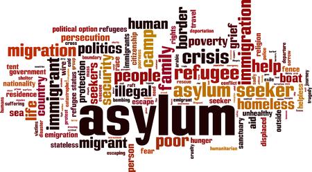 Asylum crisis word cloud concept. Vector illustration