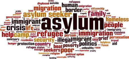 Asylum crisis word cloud concept. Vector illustration.
