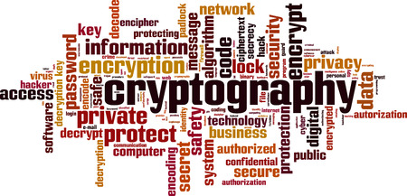Cryptography word cloud concept. Vector illustration