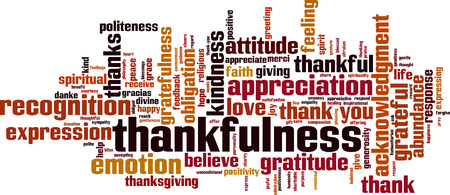 Thankfulness word cloud concept. Vector illustration