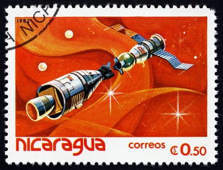 NICARAGUA - CIRCA 1982: a stamp printed in Nicaragua shows Apollo-Soyuz mission, the first joint U. S. and Soviet space flight, circa 1982