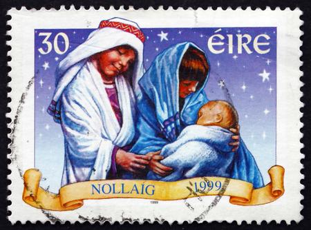 IRELAND - CIRCA 1999: A stamp printed in Ireland shows Holy family, Christmas, circa 1999