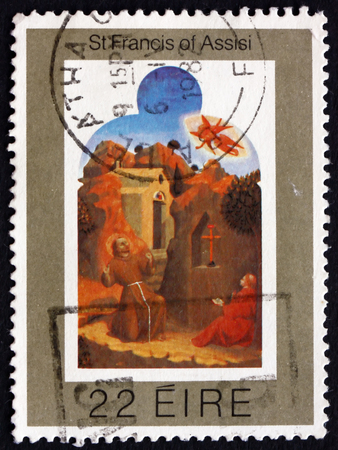 IRELAND - CIRCA 1982: A stamp printed in Ireland shows the stigmatization of St. Francis, painting by Sassetta, Italian painter, circa 1982 Editorial