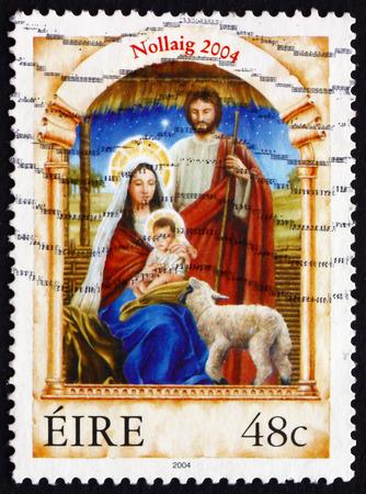 IRELAND - CIRCA 2004: A stamp printed in Ireland shows Holy family, Christmas, circa 2004 Editorial