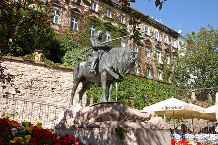 CROATIA ZAGREB, 1 OCTOBER 2017: St. George after the battle with the Dragon, sculpture, Zagreb, Croatia Editorial
