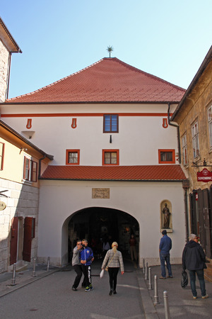 CROATIA ZAGREB, 1 OCTOBER 2017: Old Fortress Gate was built in the 13th century, Zagreb, Croatia Editorial