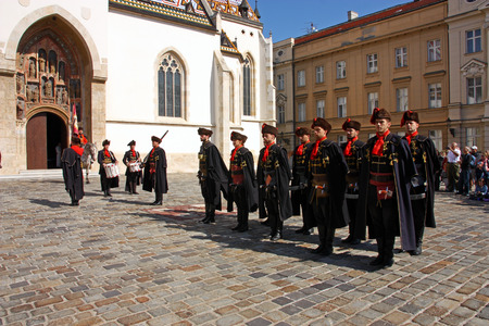 CROATIA ZAGREB, 1 OCTOBER 2017: Changing of the guard, Members of the Cravat Regiment in front of the Church of St. Mark, Zagreb