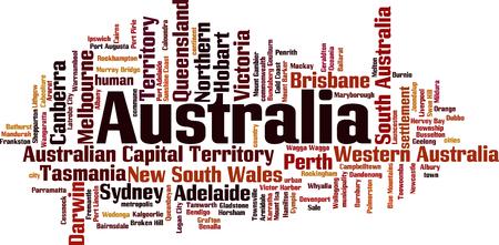 Cities in Australia word cloud concept. Vector illustration