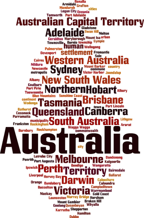 Cities in Australia word cloud concept. Vector illustration