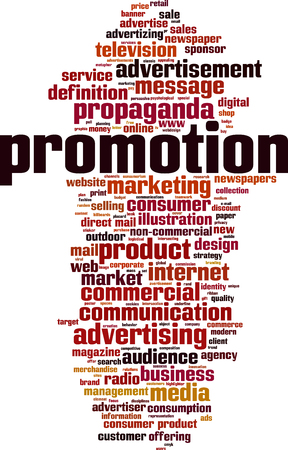 Promotion word cloud concept Vector illustration