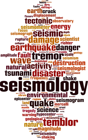 Seismology word cloud concept Vector illustration