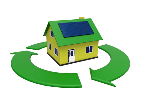 Energy efficient house with solar panel in a green circle, 3d rendering, on white background Archivio Fotografico - 96381836