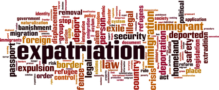 Expatriation word cloud concept. Vector illustration Çizim