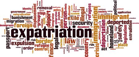 Expatriation word cloud concept. Vector illustration