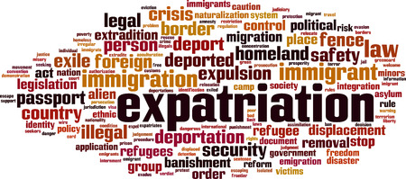 Expatriation word cloud concept Vector illustration Çizim