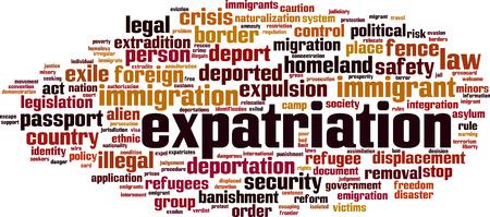 Expatriation word cloud concept Vector illustration