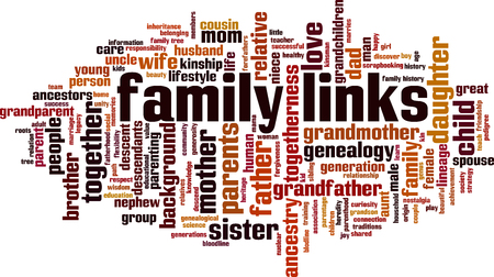 Family links word cloud concept. Vector illustration