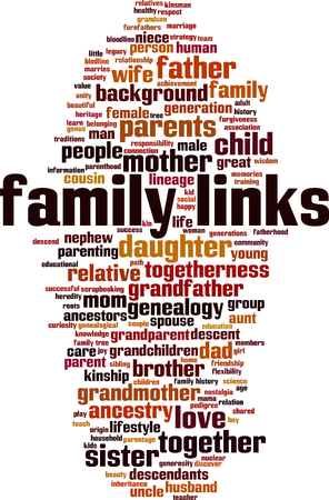 Family links word cloud concept Vector illustration Vettoriali
