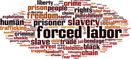 Forced labor word cloud concept. Vector illustration Ilustrace