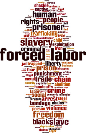 Forced labor word cloud concept Vector illustration