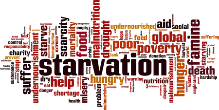 Starvation word cloud concept. Vector illustration Vectores
