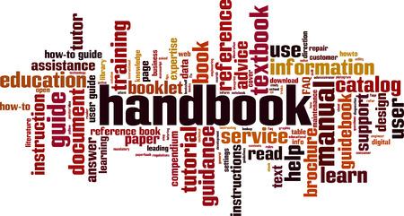Handbook word cloud concept. Vector illustration