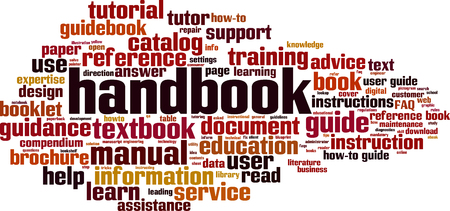 Handbook word cloud concept. Vector illustration