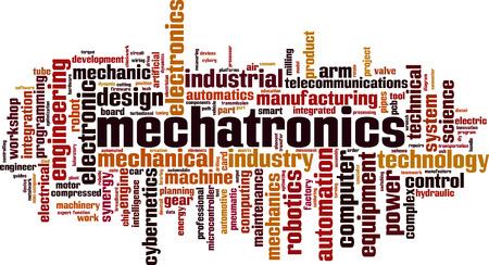 Concept de nuage de mot mécatronique. Illustration vectorielle