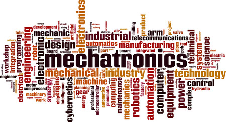 Mechatronics word cloud concept. Vector illustration Vettoriali