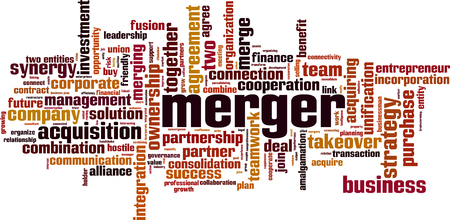 Merger word cloud concept. Vector illustration