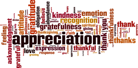 Appreciation word cloud concept. Vector illustration