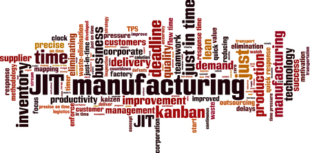 JIT manufacturing word cloud concept. Vector illustration Vettoriali