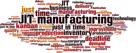 JIT manufacturing word cloud concept. Vector illustration.