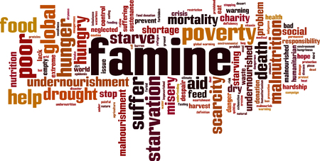Famine word cloud concept Vector illustration Vectores