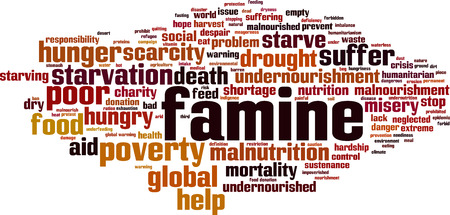 Famine word cloud concept Vector illustration Vettoriali