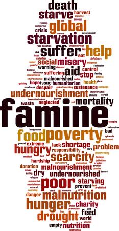 Famine word cloud concept. Vector illustration