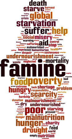 Famine word cloud concept. Vector illustration